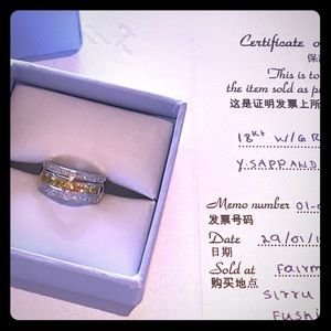 18k White Gold Ring w/ Yellow Sapphires & Diamonds